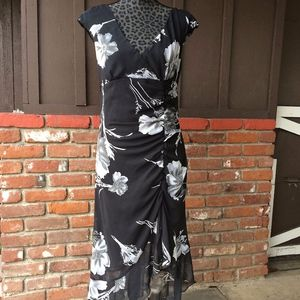 Alyn Paige Black and Gray Semi Sheer Floral Dress